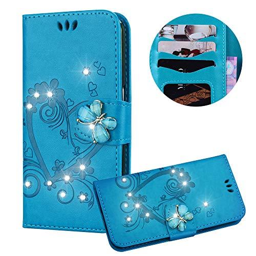 Blau Brieftasche für Huawei P20,Strass Handyhülle für Huawei P20,Moiky Luxus Liebe Herze Muster 3D Schmetterling Dekor Magnetisch Kunstleder Stoßdämpfende Handytasche mit TPU -