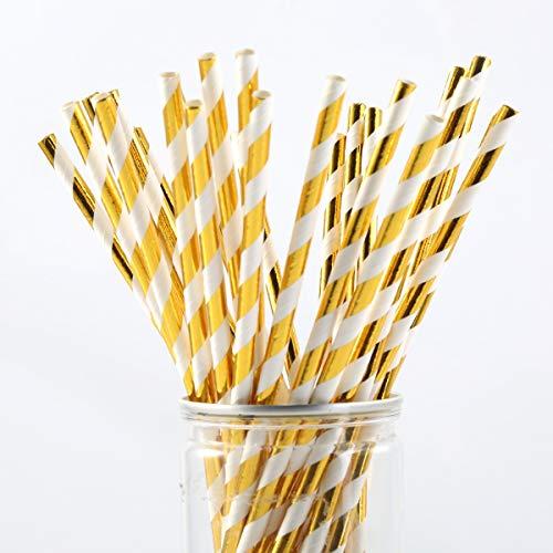 Jinxuny Strohhalme Papier Kreative Trinkhalme Obst Regenschirm Sonnenschirm Stroh Einweg für Hochzeit Geburtstag Bar (Pattern : 25pcs/Lot(Gold Stripe Print)) (Papier Strohhalme Bulk)