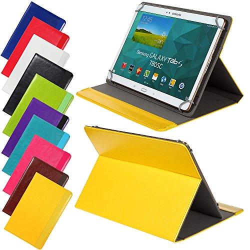 Universal elegante Kunstleder-Tasche für verschiedene Tablet Modelle (9 /10 /10.1 Zoll, Gelb) Größe Schutz Case Hülle Cover, Neigungswinkel verstellbar, mit Gummibandverschluss in gleicher Farbe