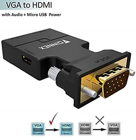 VGA to HDMI Adapter with Audio,FOINNEX VGA to HDMI Converter 1080P Audio/Video Output for TV, Computer, Projector, with Audio Cable and Micro USB Cable, HD Connector Converter, Plug and Play with Portable Size.