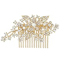 EVER FAITH® Austrian Crystal Bridal Party Hair Comb Clip Triple Flower Leaf - Gold-Tone N00415-2