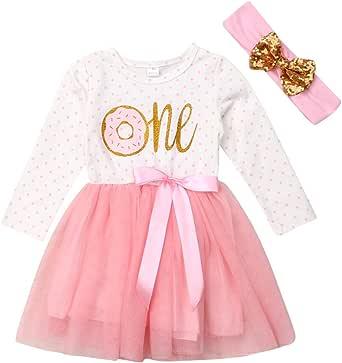 Geagodelia Vestiti per Neonate Abito Principessa di Compleanno Bimba 0-3 Anni My First Birthday 2Pcs con Fascia Bambina tutù
