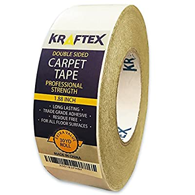 NEW: *Original Carpet Tape* 90ft Roll, For Rugs, Mats, Pads, Runners [Anti Slip Non Skid Technology] Indoor Gripper Tape Double Sided Adhesive [Works on ANY Floor] Grips Hardwood, Tile, Laminate Floor - inexpensive UK light shop.
