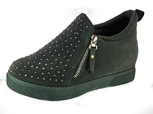 miss cindarella Shoes Scarpe da Passeggio Donna Ragazza Moda Comoda New Tacco Basso Grigio