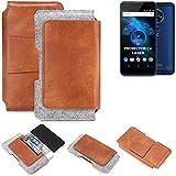 K-S-Trade für Allview X4 Soul Vision Gürteltasche Schutz Hülle Gürtel Tasche Schutzhülle Handy Smartphone Tasche Handyhülle PU + Filz, braun (1x)