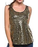 Meaneor Damen Glitzer Top Trägershirt-Weste Camisole Ärmelloses Oberteil Tops Glänzend Shimmer Glam Verziert Sparkle Lose (EU 36(Herstellergröße:S), Golden)