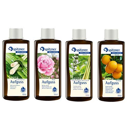 Spitzner Saunaaufguss Gedankenfrei: Lemongras, Orange, Rose und Zitronengras-Basilikum (4x190ml)