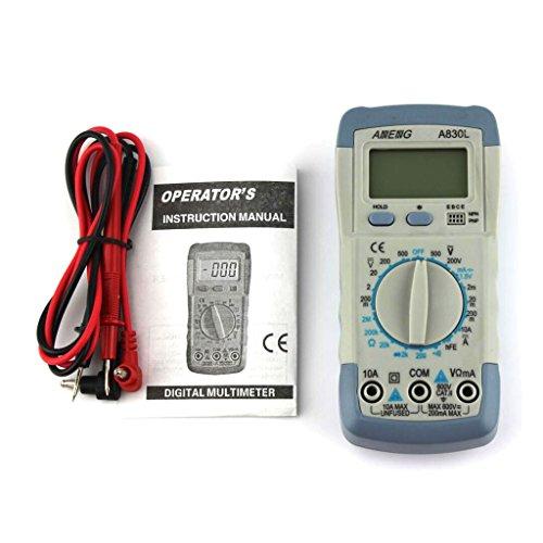 Generic Digital LCD Multimeter Messgerät DC AC Spannungsprüfer A830L- Grau & Weiß