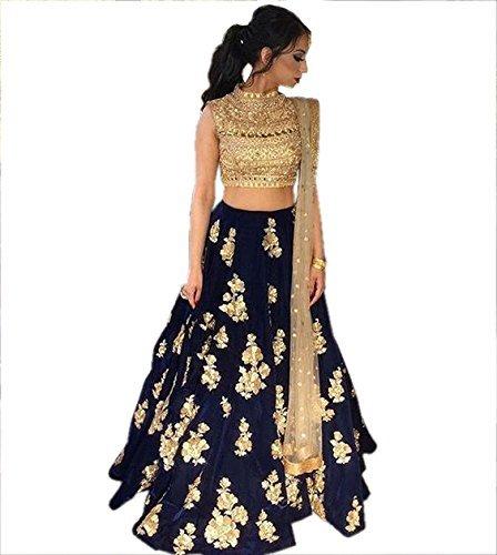 Indian Rang Festival Wear Designer Navy Blue Colour Taffeta Silk Lehenga Choli...