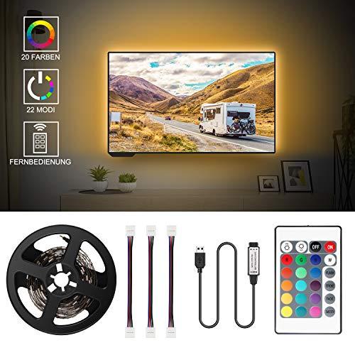LED TV Hintergrundbeleuchtung, 2M USB LED Strip Fernseher Beleuchtung für 40 bis 60 Zoll HDTV,TV-Bildschirm und PC-Monitor, Hintergrundbeleuchtung Fernseher mit 24-Key Fernbedienung (24-zoll-hdtv)