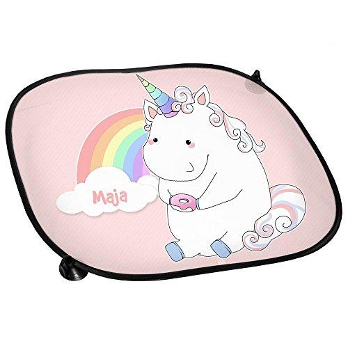 Auto-Sonnenschutz mit Namen Maja und schönem Einhorn-Motiv mit Donut und Regenbogen für Mädchen   Auto-Blendschutz   Sonnenblende   Sichtschutz