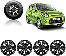 Auto Pearl 12-inch Black Wheel Cover Cap for Maruti Suzuki Alto 800 2016 (Set of 4)