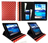 Sweet Tech Acer Chromebook Tab 10 9.7 Zoll Tablet Rot Polka Dots Universal 360 Grad Wallet Schutzhülle Folio mit Kartensteckplätzen (9-10 Zoll