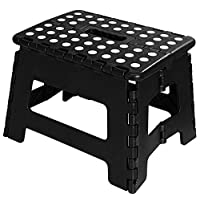 (28cm (L) x 23cm (W) x 23cm (H), Black) - Utopia Home Foldable Step Stool for Kids - 28cm Wide and 23cm Tall - Black and White - Holds Up to 140kg - Lightweight Plastic Design