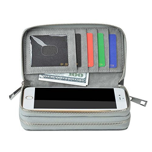 BANGBO Premium PU Leather Double Zipper Wallet Handbag Purse Card Case Money Organizer Phone Holder for Cell Phone IPhone 7/7 Plus/SE/6S/6 Plus/5S and Samsung Galaxy S8/8 Plus/S7/S6, Grey