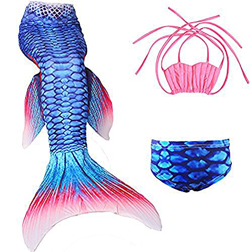 Das Beste Mädchen Meerjungfrauen Bikini Kostüm Meerjungfrau Schwimmanzug Badeanzüge Tankini Muschel Gr. 130, 130, Farbe: Muschel