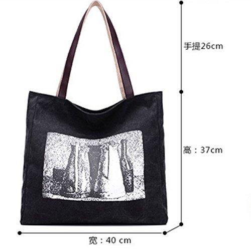 Segeltuch-Schulter-Kursteilnehmer-koreanische Kunst-einfache Druck-Handtasche,Beige Blue