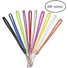AreTop Paquet de 100 court poignet Colorful lanière / sangle en vrac pour USB Flash Thumb Drive, Porte-clés, Porte-ID Badge, Étiquette, Jeu Vidéo - couleurs assorties
