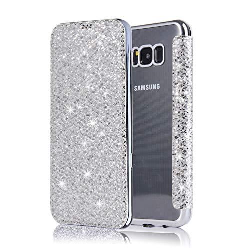 Preisvergleich Produktbild Coollee Hülle für Galaxy S8 Lederhülle Ledertasche für Samsung Galaxy S8 Hülle Glitzer mit Kartenfach Standfunktion Schutzhülle im Bookstyle Klapphülle Brieftasche PU Leder Flip Etui,  Silber