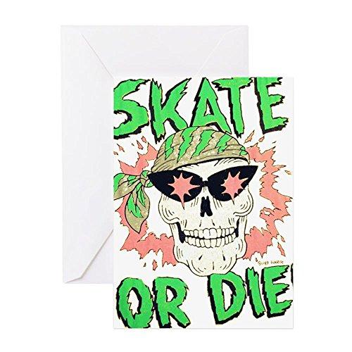 CafePress - Retro 80er Jahre Skate or Die Skull - Grußkarte, Notizkarte, Geburtstagskarte, blanko innen glänzend