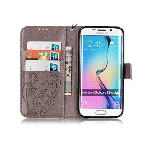 Prägen Blumen-Case, Magnetverschluss Synthetische PU-Leder-Kasten-Abdeckung mit hängenden Seil und Wallet-Funktion für Samsung S6 Rand ( Color : Pink , Size : Samsung S6 Edge ) Gray