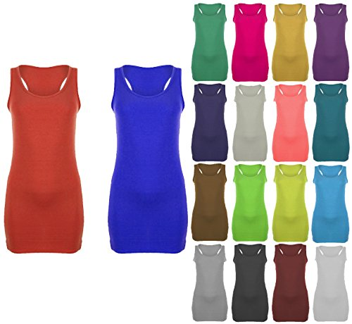 Ladies Womens Long Racer Back Bodycon Muscle Vest Top Gym Top 8 - 26