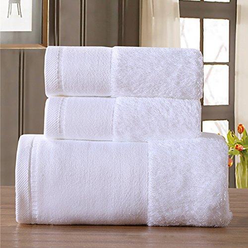 DANCICI Baumwolle Grün Handtuch saugfähiges Handtuch nach Schal set Handtuch drei Stücke hotel, Weiß Weiß