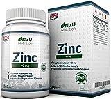ZINCO 40mg - 365 compresse (Fornitura per 12 Mesi), 1 Compressa Facilmente Deglutibile Al Giorno di Zinco Gluconato - Integratori alimentari Nu U Nutrition