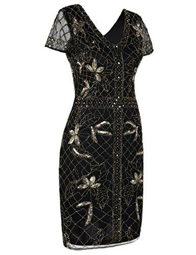 Kayamiya Damen 1920er Jahre Gatsby Kleid Pailletten Perlen Cocktail Flapper Kleid mit Ärmeln Gold