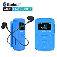 Mymahdi Sport Music Clip,24 GB Bluetooth MP3 Player with FM Radio Voice Record Function,Blue with LCD Screen and MicroSDHC Card Slot,Sweatproof Silicone Case,Support up to 128GB