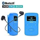 Mymahdi Clip musical Sport, lecteur MP3 Bluetooth 24 Go avec fonction d'enregistrement vocal Radio FM, bleu avec écran LCD et fente pour carte MicroSDHC, étui en silicone anti-transpiration, support jusqu'à 128 Go...