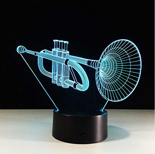 Die Trompete Acryl 3D Lampe Musikinstrumente Led 3D Nachtlicht Bunte Led Tisch Schreibtischlampe Abbildung Kinder Schlaflampe Berührungsschalter