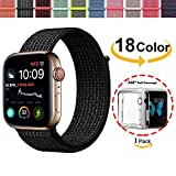 Chok Idea Strap für Apple Watch Armband 44mm,Mit Klarer TPU Case,Nylon Sport Loop Ersatzband für iWatch Apple Watch Series 4,Nike+,Hermès,Black-White