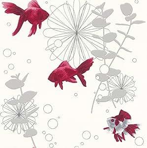 Rasch papier peint blanc argent rouge 817539 poisson for Deco poisson rouge