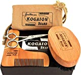 Presents for Men - Male Grooming Kit - Beard Comb + Beard Brush + Moustache Scissors + Elegant Gift Box - Gifts for Men with Beard - Anniversary Gifts for him - Perfect Present by KOGAION UK