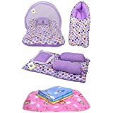 Toddylon New Born Baby Bedding Set Combo Pack of Mosquito Bed with Sleeping Bag Gaddi Set and 4 Waterproof Sheets (0-6 Months