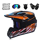 MRDEAR Casque Moto Cross Adulte Casque Motocross Moto Set, Filet à...