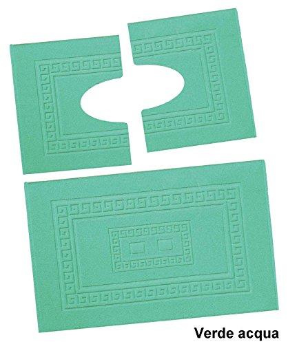 CASA TESSILE Torino Set 3 tappeti Bagno Spugna 1 60X90 e 2 Girowater 60x45 Verde Acqua