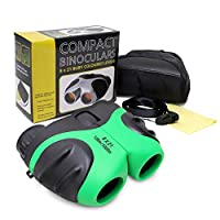 VCOSTORE Compact Binoculars for Kids, Shockproof Small Outdoor Spotting Telescope for Bird Watching, Camping and Traveling, Leather Carrying Case Included