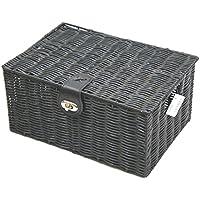Arpan medio resina Woven Basket archiviazione scatola con coperchio & Lock - (Basket Archiviazione)