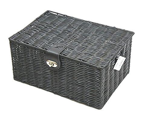 Arpan Panier de rangement en résine tressée avec couvercle et verrou Noir (Basket Archiviazione)