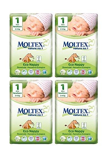 4unidades MOLTEX recién nacido pañales tamaño 1(112Pañales)