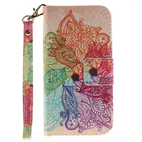 Voguecase® für Apple iPhone SE hülle,(Katzenbär 03) Kunstleder Tasche PU Schutzhülle Tasche Leder Brieftasche Hülle Case Cover + Gratis Universal Eingabestift Regenbogen Blumen