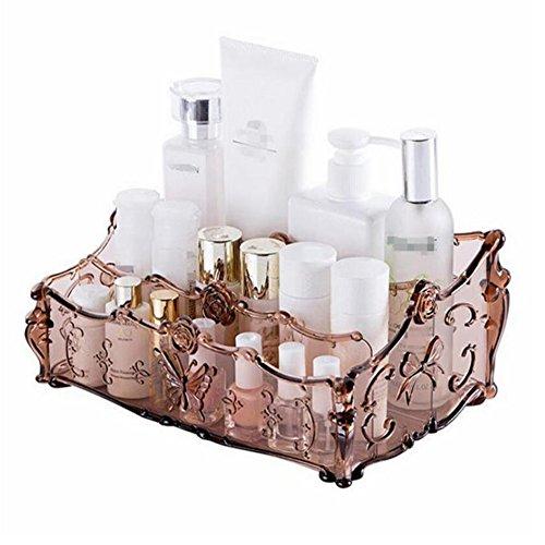Acryl klar Make-up Kosmetik Organizer Aufbewahrung Ständer Cosmetics Aufbewahrungsbox Make Up Halterung Rack für Kosmetika, Nagellack, Lack, ortsfest, Arts Crafts, Make-up-Pinsel Badezimmer Schreibtisch Zubehör champagnerfarben (Lack-aufbewahrungsbox)