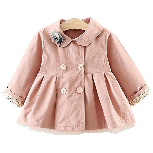Yaodgfa Baby Mädchen Jacke Mantel Trenchcoat Sweatjacke Prinzessin Kinderjacken kleidung Outerwear 0-3 Jahre Frühling Herbst Pink