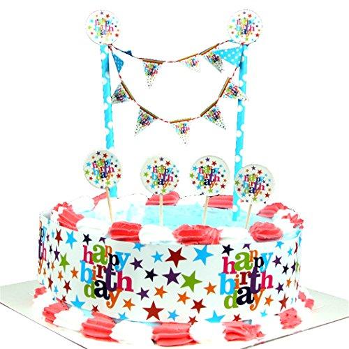 FunPa Kuchen Banner Set, Kuchen Topper Cartoon Alles Gute zum Geburtstag Party Kuchen Grenze Dekor für Kinder Geburtstag mit Box -
