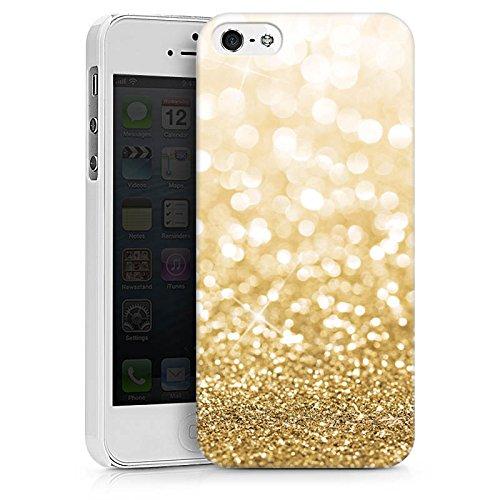 Apple iPhone X Silikon Hülle Case Schutzhülle Glitzer Look Staub Gold Hard Case weiß