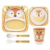 ASBYFR Kinder Geschirr Set aus Bambus 5 teilig, Kindergeschirr Set, Bambus Besteck Set Genehmigt von der FDA, Sicher Kinder Besteckset BPA Frei und Spülmaschinenfest (Hirsch)