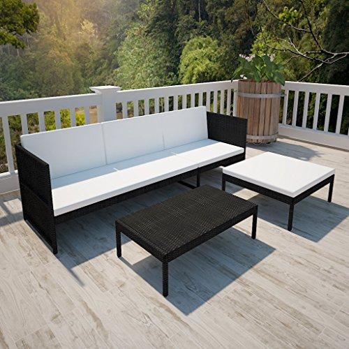 vidaXL Poly Rattan Gartenmöbel Lounge Set 3-Sitzer Schwarz - 3