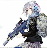 Fototapete Nippon Collection, Frau mit Schuluniform und Rucksack hält ein Maschinengewehr, 5 Bahnen hochwertige Vliestapete, 232,5 x 239 cm
